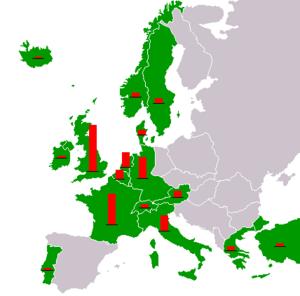 这幅冷战时期的欧洲地图上标注了接受马歇尔计划援助