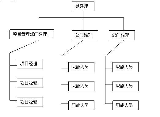 强矩阵组织形式是矩阵组织形式的另一个极端。强矩阵组织形式类似于项目式组织形式,它们的区别在于项目不从公司中分离出来作为独立的单元。项目人员可根据需要全职或兼职地为项目服务。   强矩阵组织结构具有项目的线性组织结构的主要特征。强矩阵组织结构在系统原有的职能组织结构的基础上,由系统的最高领导任命对项目全权负责的项目经理,项目经理直接向最高领导负责。如图所示。      图: 强矩阵组织结构图