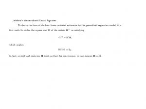 艾特肯广义最小平方估计量Aitken's generalized least square estimator